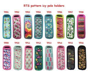 Ice Cream Tools Insulator Sleeves Reusable Neoprene Freezer Pops Holders Antifreezing Sleeve Popsicle Holder Bags Multi-pattern LLA8928