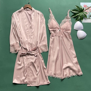 Sexy Robe Set Nightwear Bathrobe Gown Satin Casual Homewear Intimate Lingerie Summer New Sleepwear Nightgown