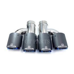 Car Universal h Style Dual Pipes Remus Matte Carbon Fiber Exhaust Muffler Tips Burnt Blue Inner Pipe