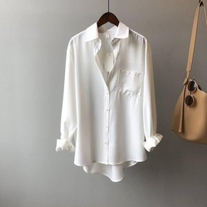 Women's Spring Autumn Style Blouse Shirt Women's Pockets Solid Color Turn-Down Collar Solid Color Long Sleeve Elegant Tops SP875