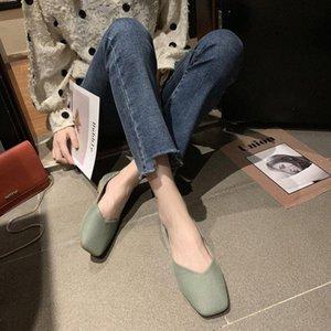Einzelne Schuhe 2020 Sommermodelle Wild Square Kopf Abend Abend Wind Flat Womens Schuhe Weiche Bodenerbsen Große Größe Orthopädische Schuhe W L3li #