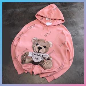 Luxurys дизайнеры женские толстовки 2021 леди S мода капюшона с длинными рукавами розовый пуловер женская толстовка вышивки медведя бренд животных печатные пуловеры S-L