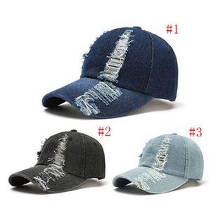 3Colors Capuchon de baseball déchiré Jeans Cowboy Caps Casquettes Hommes lavés Sun chapeau Summer State Sport EXTÉRIEUR SUNSCREEN HATS Q200