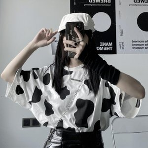 Cow Print T-shirt Gothic clothes Harajuku Streetwear kawaii Tops Female tshirt Oversized Short Sleeve lolita Ulzzang y2k tshirts