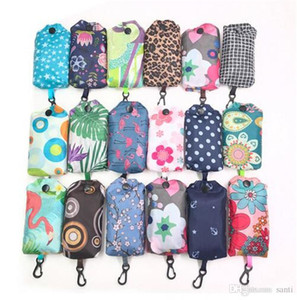 Folding Reusable Grocery Bags Cloth Grocery Tote Washable Bags Polyester Foldable Into Attached Pouch 38x60CM Colorful