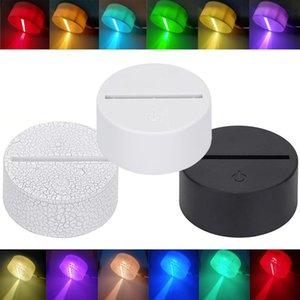 3D LED Lamba Bazları 3D Akrilik Gece Işık Taban 7 Renk-Ayarlamak Uzaktan Kumanda Işık Tutucu Aydınlatma Aksesuarları Toptan