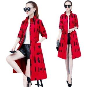 Women's Trench Coats Moda Mujer 2021 Spring Fashion Korean Retro Windbreaker Casual Loose Temperament Thinner Long Coat Pocket Lace