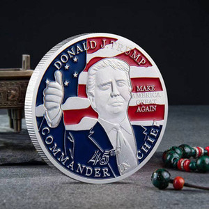 Free Shipping American 45th President Donald Trump Coin US White House The Statue Of Liberty Silver Plated Replica Coin Collection