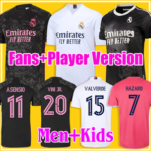2020 2021 Real Madrid Kits Jerseys de football 20/21 Ramos Sergio Ramos Vini JR Camiseta de pied Enfants Quatrième 4ème Humanrace Football Shirts
