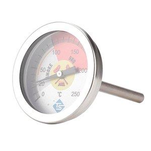 2 بوصة شواء الفحم شواء المدخن قياس درجة الحرارة حفرة شواء ترمومتر مئوية ومؤشر الحرارة لطبخ اللحوم، الفولاذ المقاوم للصدأ