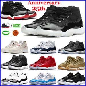 Новые 11 11s мужские баскетбольные туфли 25-летие Low Compord Concord 45 Cap и Chast 72-10 белые металлические серебряные кроссовки