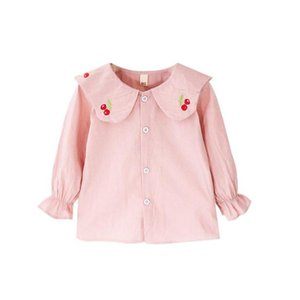 Shirts DFXD 2021 Kids Fashion Toddler Girls Long Sleeve Cotton Embroidery Cherry School Blouses Tops Spring Pink White 6M-3T