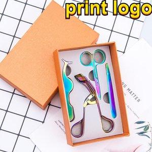 Print 4Pcs lot Rose Gold Eye Lashes Stainless Steel Makeup Set Eyelash Curler Eyebrow Tweezers Scissors False Eyelash Applicator