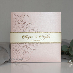 Romantic Blush Pink Spring Flower Glittery Laser Cut Pocket Wedding Invitation Kits With Belly Band And RSVP Card