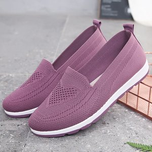 Women Casual Shoes Light Sneakers Breathable Mesh Summer knitted Vulcanized Shoes Outdoor Slip-On Sock Shoes Plus Size Tennis44