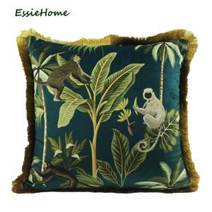 Essie Home Tropische Pflanzen Palm Blätter Tier Muster Affe Digitaldruck Samt Kissenbezug Kissenbezug Mit Gold Quaste 210201