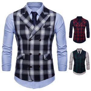 Folobe 2021 Men Vest Red Plaid Vest Double Breasted V-neck Collar Casual Style Slim Fit Wedding Party Wear Gilet Men