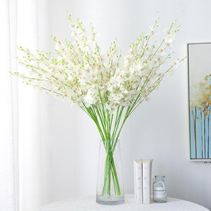 5 شوكة الاصطناعي زهرة أصفر الرقص السحلية ل الزفاف الديكور المنزل phalaenopsis باقة الحرير زهرة الديكور عيد DHD5256
