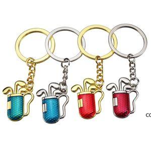 4 Farben Golf Keychain Cute 2D Simulation Golfs Club Ball Tube Key Ring Golfs Geschenk DHD8164