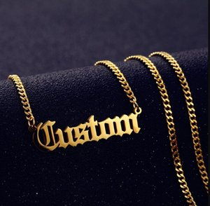 Personalized Custom Name Necklace Pendant Gold Color 3mm Cuban Chain Customized Nameplate Necklaces ps2767