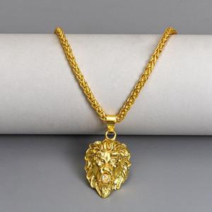 2021NEW Lion Animal Head Necklaces Pendant Mens Gold Color Hot Link Chain & Pendant Punk Retro Vintage Jewelry For Man Male