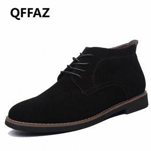 QFFAZ marca masculina de gamuza de cuero zapatos para hombres botas de hombre sólido casual cuero otoño invierno botines talla grande 38 45 botas no 7 bootie fr h2bp #