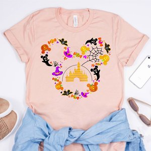 Women Halloween Shirt Funny Magic Kingdom Mouse Micky Halloween Tees Cute Pumpkin Fall Shirt Thanksgiving Shirt Harajuku tshirt 210226