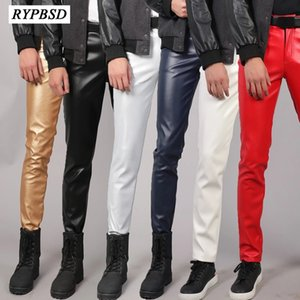 Hombres Pantalones de cuero 2021 Moda de alta calidad Slim Fashion Impermeable Plus Tize Zipper Skinny Club de cuero Faux Pantalones Hombres