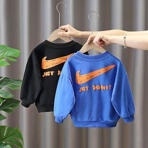 Hoodies & Sweatshirts 2021 Kids Spring Autumn Fashion Sweatshirt Boys Cartoon O-neck Denim Long Sleeve Pullover Tops Children