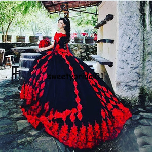 Red Quinceanera Dress Ball Gowns for Girl Appkiques Lace 2021 vestidos de XV años Ball Prom Gowns Sweet 16 Party Gowns