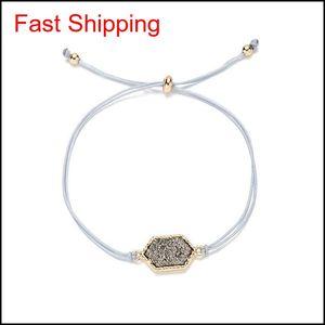Fashion Druzy Stone Chram Bracciali per le donne Guarigione Geometrica Geometrica Stone Naturale Regolabile String String Cains Bangl Qyllip Luckyhat