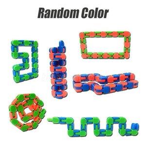 Бесплатная цепочка DHL Wacky Tracks Snap Нажмите Fidget игрушки против стресса детей аутизм змея головоломки классический сенсорный антистрес