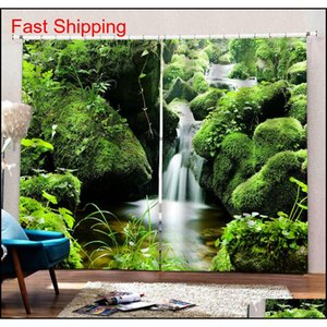 Green Scenery Waterfall 3d Curtains Window Blackout Luxury 3d Curtains Set For Bed Room Living Room Bl jllFlE mywjqq