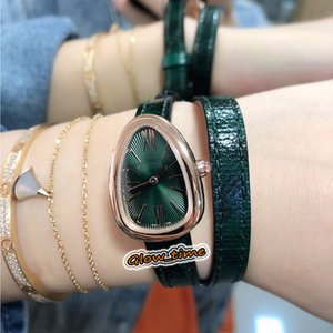 Top BVF version SERPENTI 102726 SPP27C4PGL Green Dial Cal.B033 Quartz Movement Womens Watch Rose Gold Case Leather Strap Luxry Lady Watches