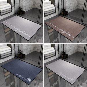 Carpets Toilet Absorbent Solid Color Floor Mats Bathroom Entrance Rugs Doormat Shower Tapis Salle De Bain
