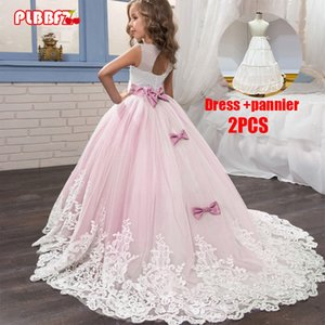 PLBBFZ Pink White First Bridesmaid Dress Girl Kids Dresses For Girls Children Pageant Party Wedding Princess Dress 3-14 Years C0228