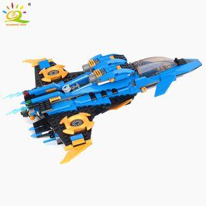 HUIQIBAO Ninja Storm Fighter Model Building Blocks Ninja Jie Warplane Knight Figures Toys For Friends Children X0127
