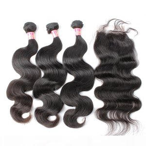 Bella Hair? Malaysian Virgin Human Hair Extensions Full Head Natural Color Body Wave Hair Weaves with closure Free Shipping