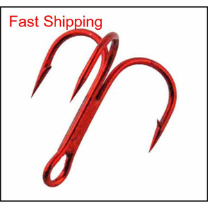 100pcs 35647 High Carbon Steel Treble Fishing Hooks Red Black Round Bent Triple Hard Lure S JFR home2006