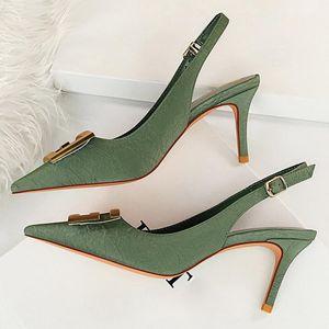Big Size 43 Women 7.5cm High Heels Slingback Sandals Lady Buckle Leather Stripper Sandles Wedding Bridal Low Heels Green Shoes