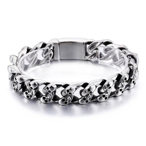 Top quality men's unique skull stainless steel Punk bracelets vintage bracelets hip hop jewelry stainless steel vintage jewelry KL80115