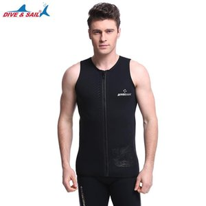 DIVE&SAIL 3mm neoprene scuba dive vest front open zipper sleeveless surfing jacket swimming snorkeling diving suit