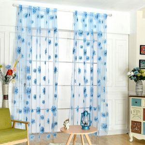 Curtain & Drapes Floral Pattern Door Window Yarn Bedroom Living Room Tulle Modern Sheer Flocked Luxury Curtains 2 Color