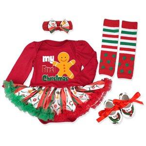 Christmas Baby Girls Outfits Newborn Clothing Sets Infant Clothes Long Sleeve Romper Jumpsuit Tutu Dress Leg Warmers Shoes Headbands 4Pcs B8477