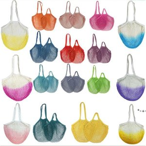 Portable batting net shopping Suermarket vegetable and fruit bags Pure cotton woven hollow polyester bag HWD9183