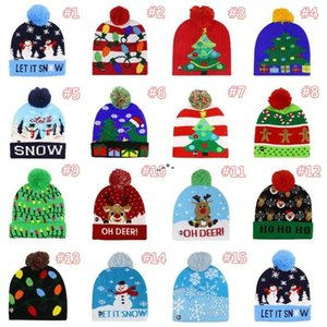 NEW15 style Led Christmas Knitted Hats 23*21cm Kids Mom Winter Warm Beanies Deer Santa Claus Crochet Caps CCF9163