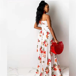 2021 Sıcak Satış Yeni Tasarım Yaz Plaj Çiçek Baskı Maxi Seksi Bohemian Uzun Etek Günlük Elbise Kadınlar