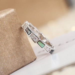 S925 silver luxury design with grey shell punk band ring and diamond for women party wedding engagment jewelry gift with box PS4178