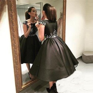 Fashion 2021 Short Black Ball Gown Prom Dresses Jewel Neck Short Sleeve Tea Length Puffy Special Occasion Cocktail Party Dress Evening Gowns