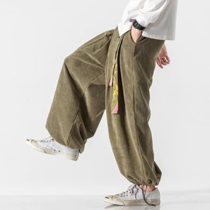 Этническая одежда 2021 Японские брюки в японском стиле для мужчин Азиатские традиционные повседневные винтажные брюки широко-нога Samurai Yukata Harajuku модная улица